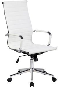 12. 2xhome Modern High Back Ribbed PU Leather Tilt Adjustable Office Chair
