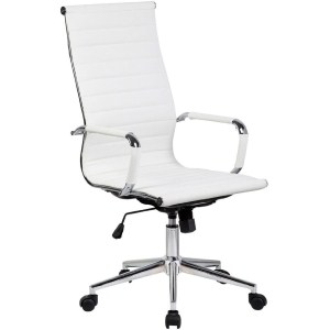 12.2xhome Modern High Back Ribbed PU Leather Tilt Adjustable Office Chair