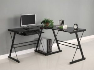 2. WALKER EDISON SORENO 3-PIECE CORNER DESK, BLACK WITH BLACK GLASS