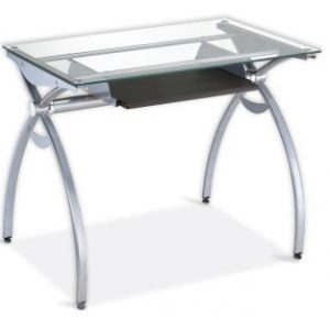 5.CONTEMPO CLEAR GLASS TOP COMPUTER DESK WITH PULL-OUT KEYBOARD PANEL