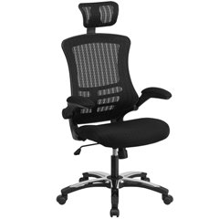 HIGH-BACK-BLACK-MESH-EXECUTIVE-SWIVEL-OFFICE-CHAIR-WITH-FLIP-UP-ARMS-AND-CHROME-NYLON-DESIGNER-BASE