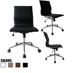 EAMES MODERN MID BACK RIBBED PU LEATHER SWIVEL TILT ADJUSTABLE CHAIR