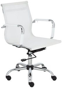 9. LEALAND WHITE AND CHROME LOW BACK DESK CHAIR