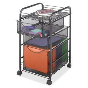 SAFCO PRODUCTS 5213BL ONYX MESH FILE CART WITH 1 FILE DRAWER AND 2 STORAGE DRAWERS, LETTER SIZE