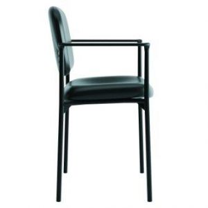 Basyx by HON Guest Chair with Arms- Leather Stacking Office Furniture, Black (VL616)