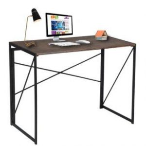 Computer Desk Simple Design Folding Laptop Table for Home Office Study Writing Brown Notebook Desk