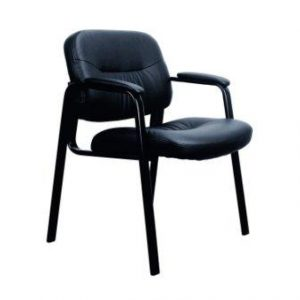 Essentials Leather Executive Side Chair with Padded Arms Ergonomic Office Furniture, Black (ESS-9010)