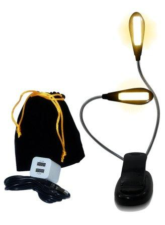Eye Care Warm Book Light — 6 Brightness Levels, LED Clip on Lamp for Reading in Bed, Fast Dual Charger, 78in Cable & Travel Bag — Eco Friendly Rechargeable & Replaceable Battery — Lightweight Easy Use