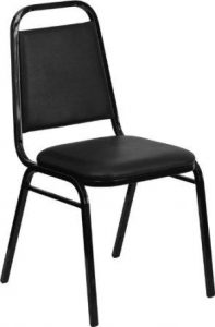Flash Furniture 4 Pk. HERCULES Series Trapezoidal Back Stacking Banquet Chair in Black Vinyl – Black Frame