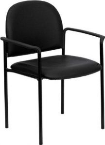 Flash Furniture Comfort Black Vinyl Stackable Steel Side Reception Chair with Arms