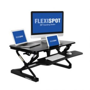 FlexiSpot Standing Desk – 35″ wide platform Height Adjustable Stand up Desk Riser with Removable Keyboard Tray (M2B-M-SIZE)