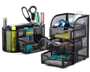 Halter Steel Mesh 2 Piece Desk Organizer Set