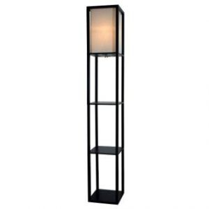 Light Accents Wooden Floor Lamp with White Linen Shade