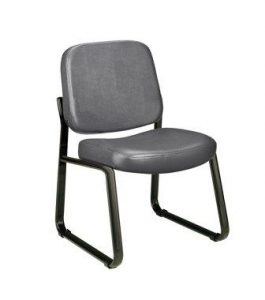 OFM Anti-MicrobialAnti-Bacterial Vinyl GuestReception Chair, Charcoal