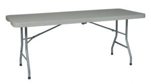 Office Star Resin Multipurpose Rectangle Table, 6-Feet, Center Folding with Wheels