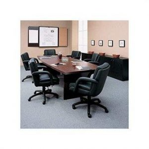Global Total Office Boat Shaped Conference Table with Slab Base