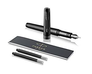 PARKER Premier Fountain Pen, Monochrome Black, Fine Nib with Black Ink Refill