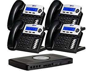 X16, Small Office Phone System with 4 Charcoal X16 Telephones