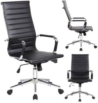 2xhome Modern High Back Ribbed PU Leather Tilt Adjustable Office Chair