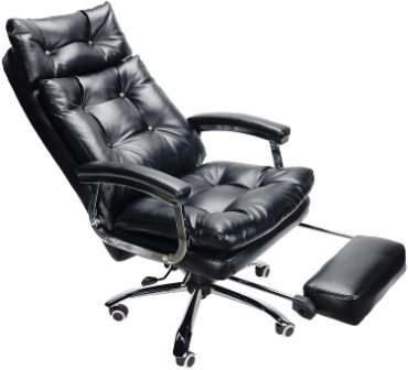 CO-Z SWIVEL EXECUTIVE PU HIGH BACKREST RECLINING OFFICE CHAIR WITH FOOTREST & THICK FILLING